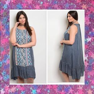 PLUS! Blue Pattern Drop Waist Dress 💙